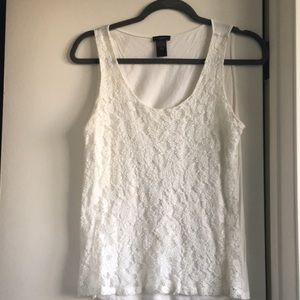 Ann Taylor Factory cream lace front tank